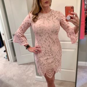 Pale pink lace overlay dress
